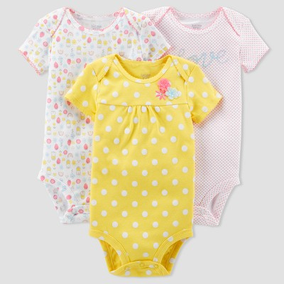 Baby Girls' 3pk Polka Dot Love Bodysuit Set - Just One You™ Made by Carter's® Yellow 3M