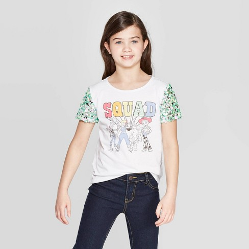 Girls' Toy Story Sequin Detail Short Sleeve T-Shirt - White - image 1 of 3