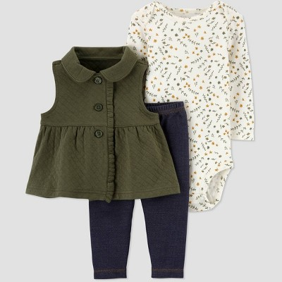 Baby Girls' Peplum Vest Top & Bottom Set - Just One You® made by carter's Olive 6M
