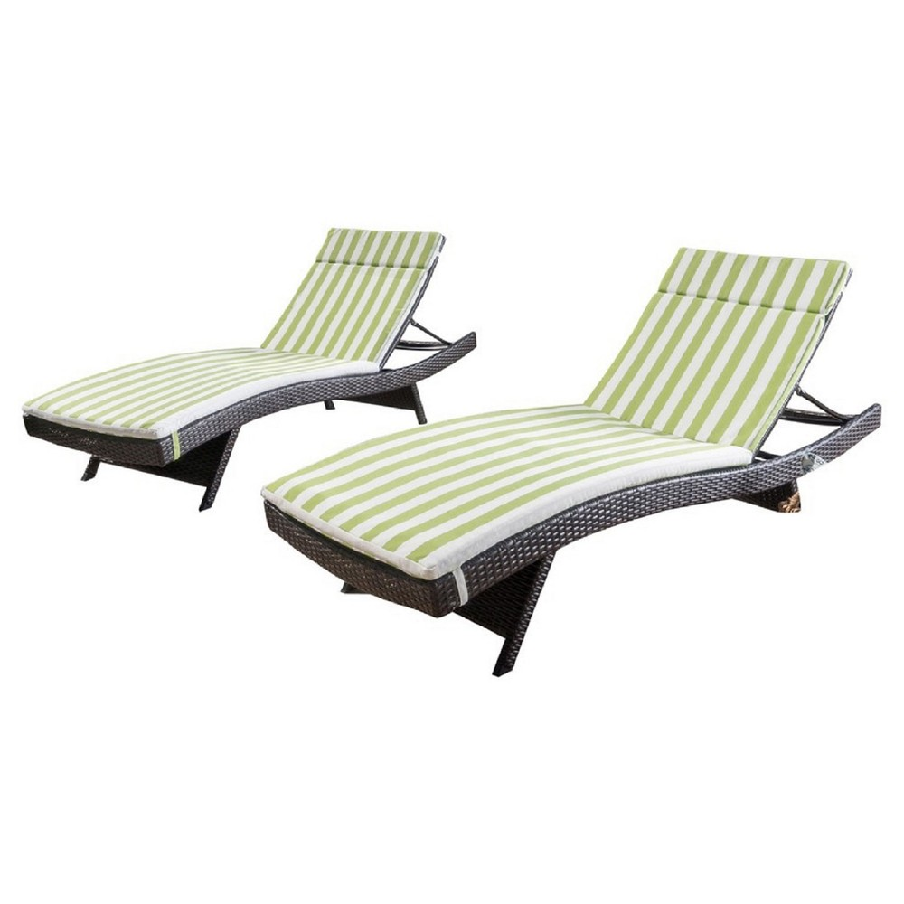 Salem Set of 2 Brown Wicker Adjustable Chaise Lounge - Green and White Stripe - Christopher Knight Home, Green + White Stripe