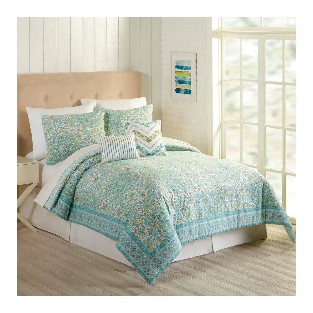Image of Indigo Bazaar King 5pc Stamped Indian Floral Comforter & Sham Set Aqua