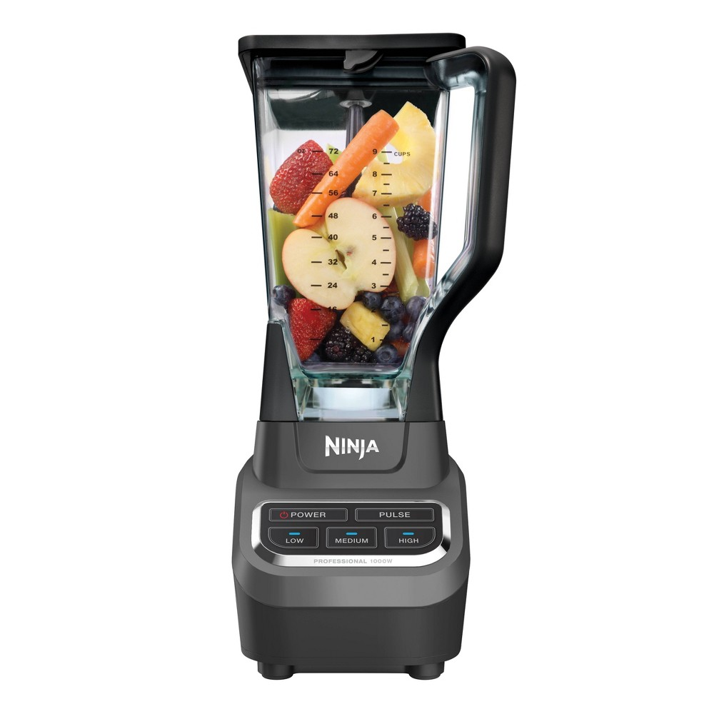 The Ninja Professional Blender gives you the powerful performance you need to crush, blend, puree, and process your favorite foods. The professional-grade power of the Ninja blades and high-torque motor slices through just about anything to make delicious, nutrient-rich drinks and smoothies. And when you\\\'re done, simply load all the pieces into your dishwasher for a hassle-free clean that will have you blending again in no time at all. Bring home this powerful food processor from Ninja and enjoy creamy frozen drinks with the entire family.