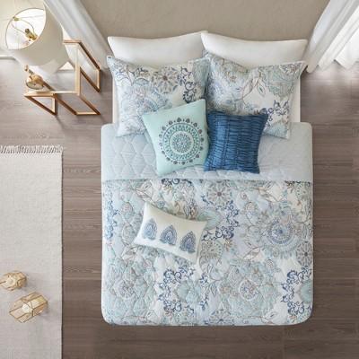 6pc King/Cal King Lian Cotton Printed Reversible Coverlet Set Blue