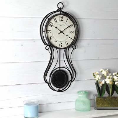 "9"" x 20"" Harwich Pendulum Wall Clock Black - FirsTime"