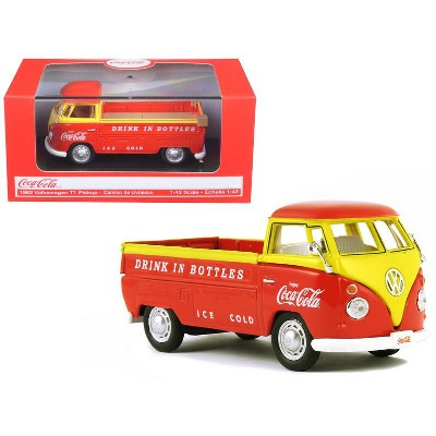 """1962 Volkswagen Pickup Truck Orange and Yellow """"Coca-Cola"""" 1/43 Diecast Model Car by Motorcity Classics"""