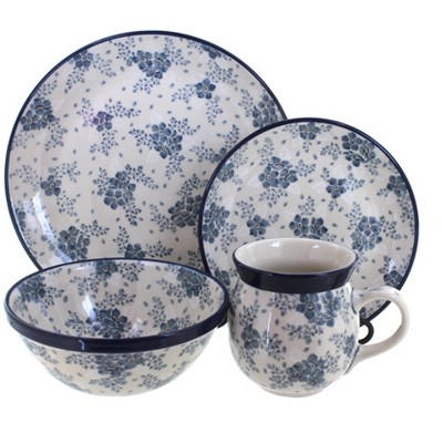 Blue Rose Polish Pottery Blue Fleur 16 Piece Dinnerware Set