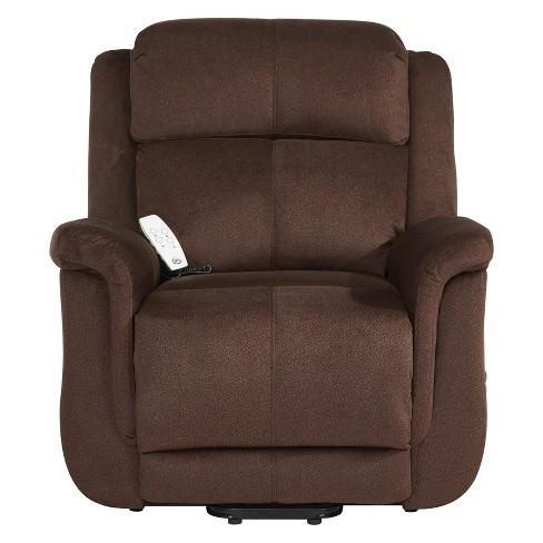 Surprising Hamilton Comfort Power Lift Recliner Walnut Serta Machost Co Dining Chair Design Ideas Machostcouk