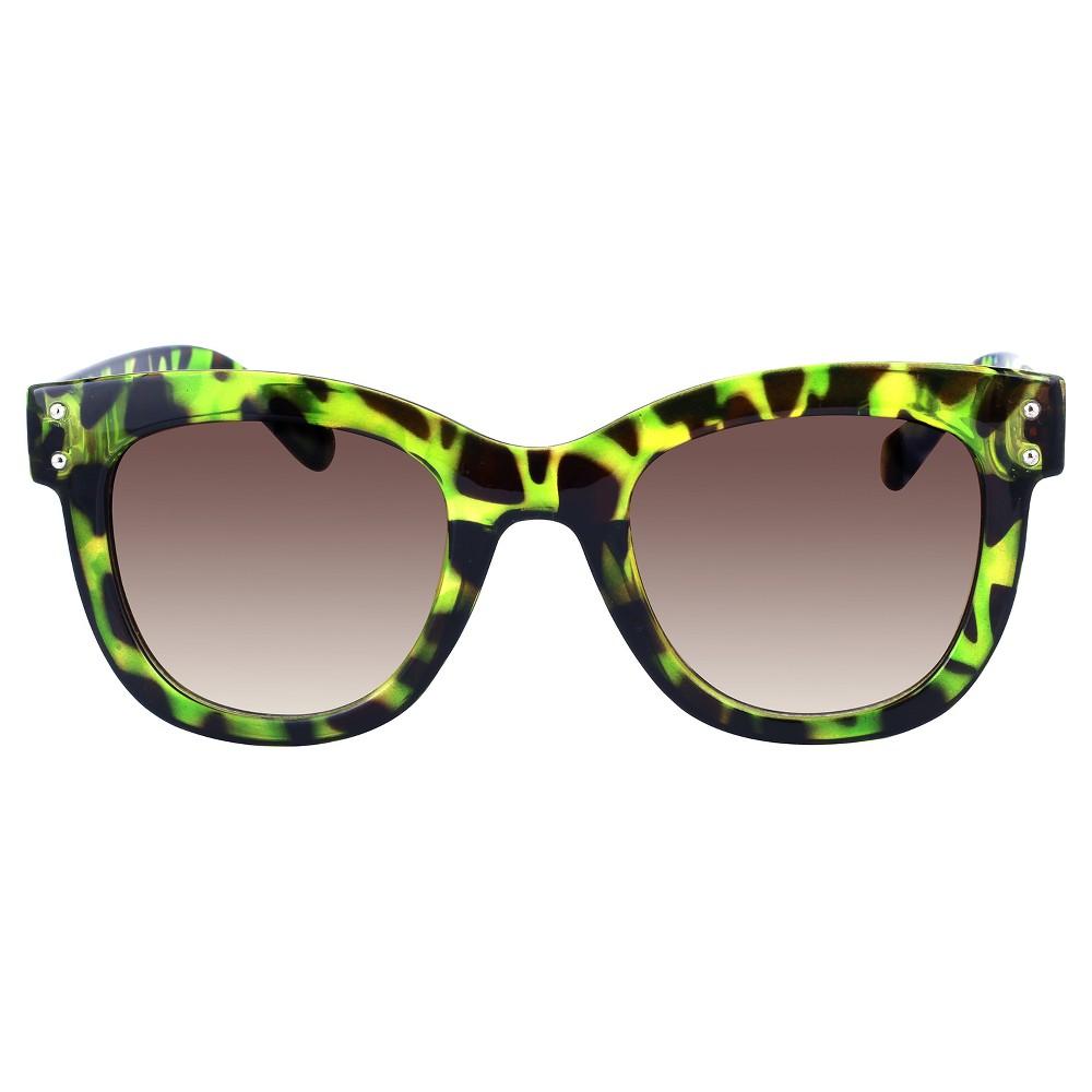 Women's Medium Plastic Sunglasses - Green Tortoise, Black