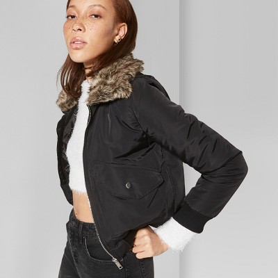 Women's Removable Faux Fur Collar Bomber Jacket - Wild Fable™ Black L
