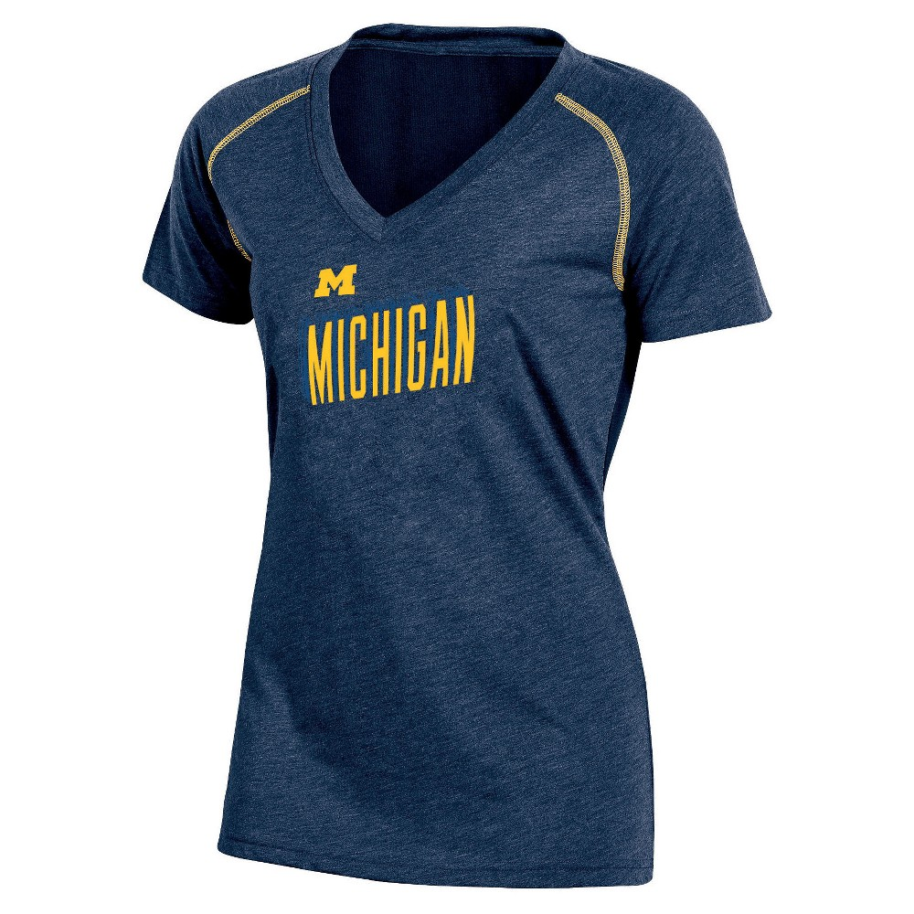 NCAA Women's Workout Warrior V-Neck Mesh Back Performance Soft-Touch T-Shirt Michigan Wolverines - L, Multicolored
