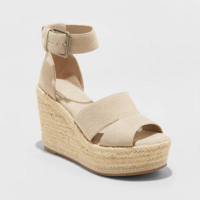 Women's Caroline Microsuede Ankle Strap Espadrille Wedge Pumps - Universal Thread™ Light Gray 9.5