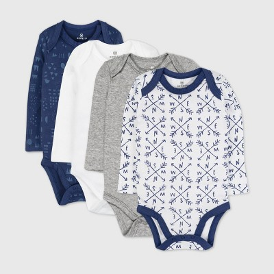 Honest Baby Baby Boys' 4pk Organic Cotton Long Sleeve Bodysuit - Navy Newborn