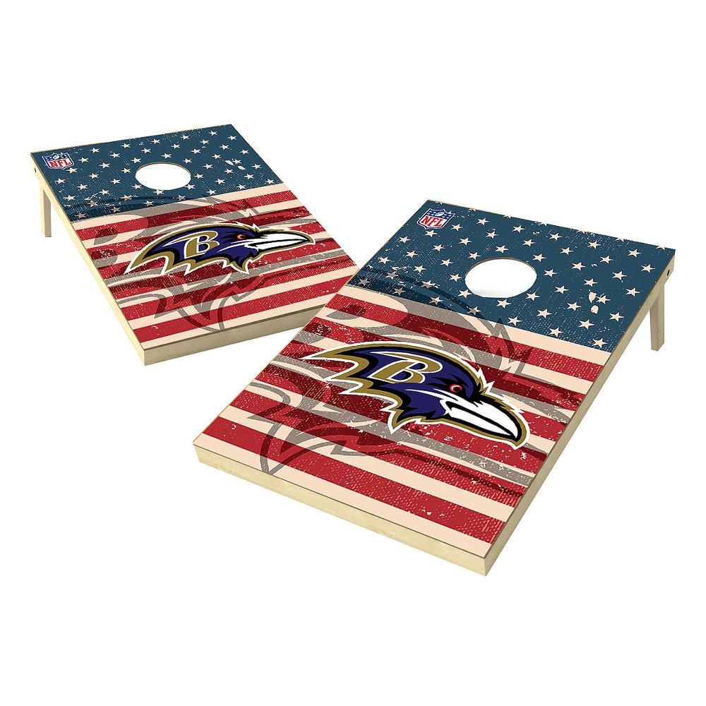NFL Baltimore Ravens Wild Sports Worn Shadow Stars and Stripes 2x3ft. Cornhole Bean Bag Toss Set