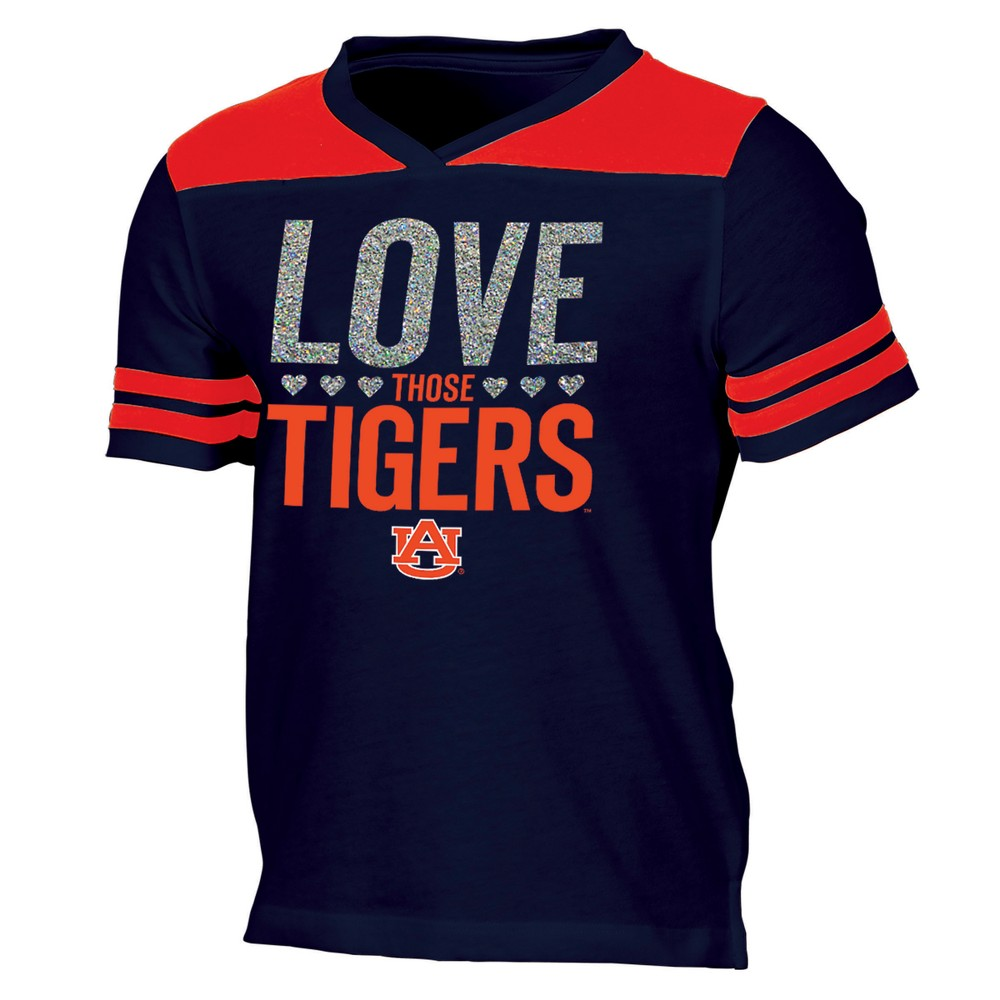 Auburn Tigers Girls' Short Sleeve Team Love V-Neck T-Shirt XL, Multicolored