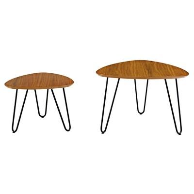 Superieur Hairpin Leg Wood Nesting Coffee Table Set   Walnut   Saracina Home