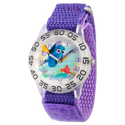 Girls' Disney Finding Dory Nemo and Dory Plastic Time Teacher Watch - Purple