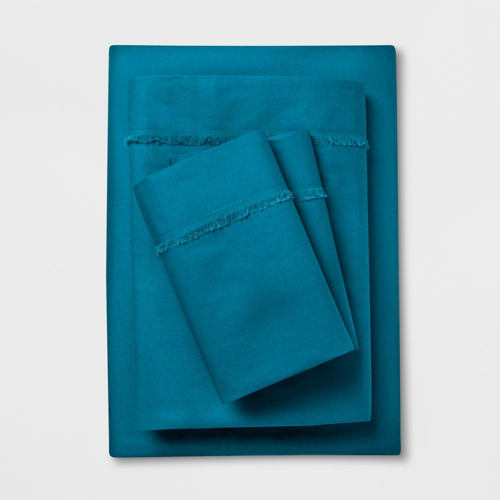 Cotton Percale Solid Fringe Sheet Set (Full) Teal (Blue) - Opalhouse