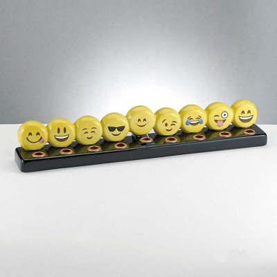 "Rite Lite 10.75"" Hand Painted Emoji Hanukkah Menorah - Yellow/Black"