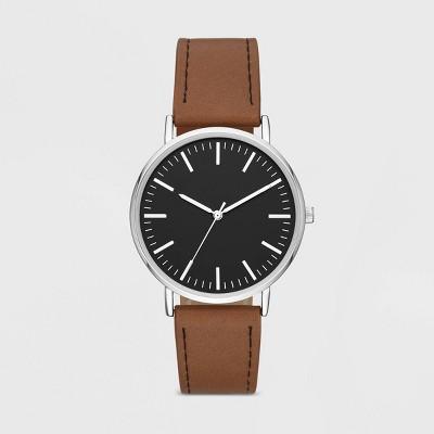 dd8cb588d0c Men s Value Clean Dial Strap Watch - Goodfellow   Co™ Brown