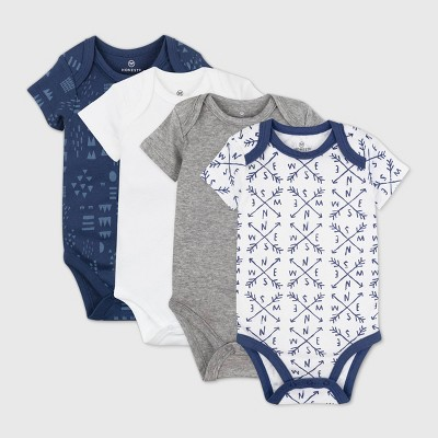 Honest Baby Baby Boys' 4pk Compass Organic Cotton Short Sleeve Bodysuit - Navy 3M