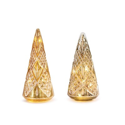 DEMDACO Lit Mercury Glass Cone Trees - Set of 2 Silver