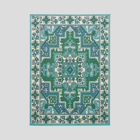 Houston Outdoor Rug Ivory/Blue - Christopher Knight Home - image 1 of 5