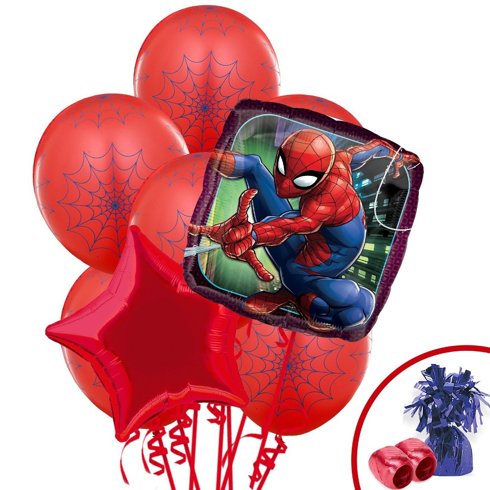 BuySeasons Spider-Man Webbed Wonder Balloon Bouquet, Multi-Colored
