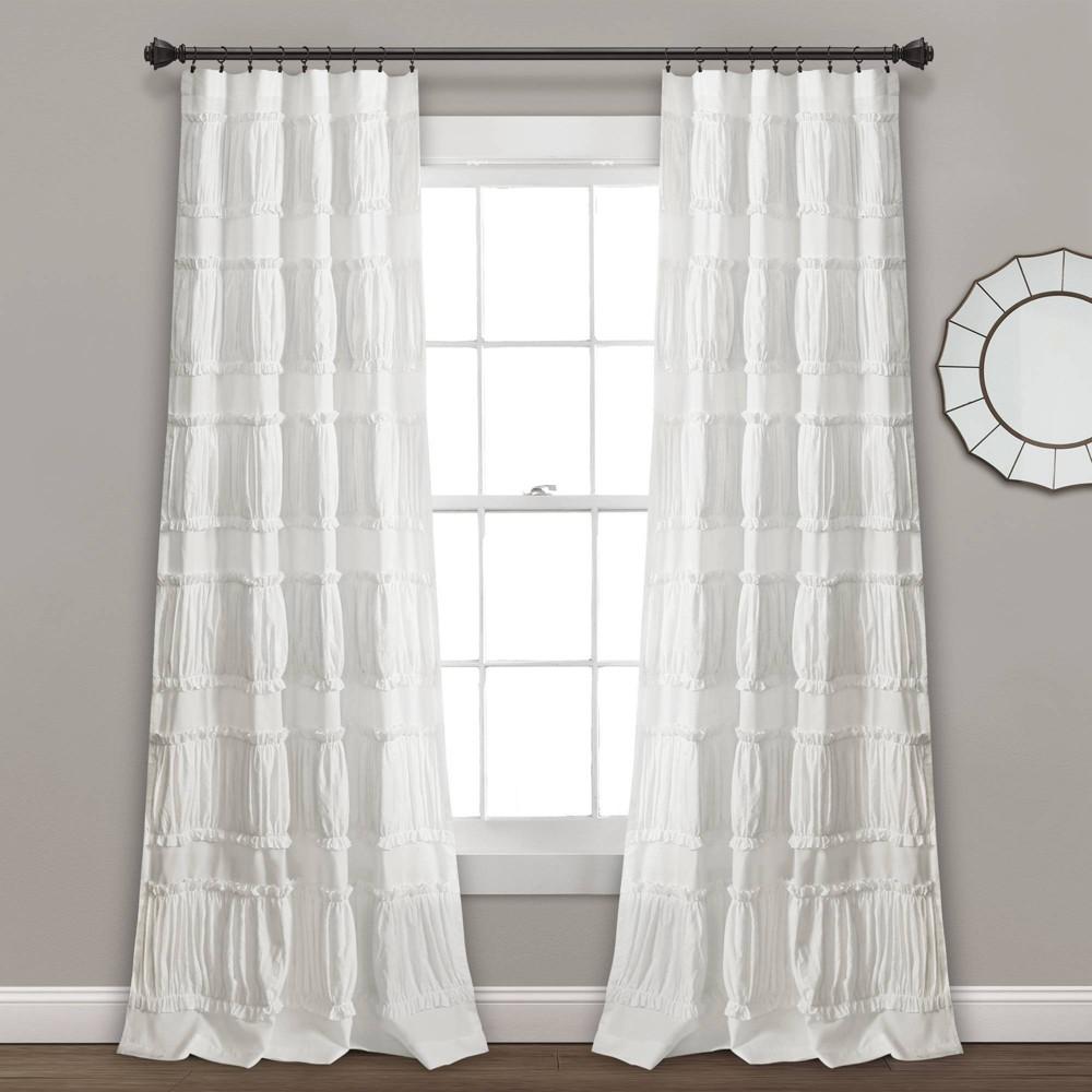 "Set of 2 (84""x42"") Nova Ruffle Light Filtering Curtain Panels - Lush Décor"