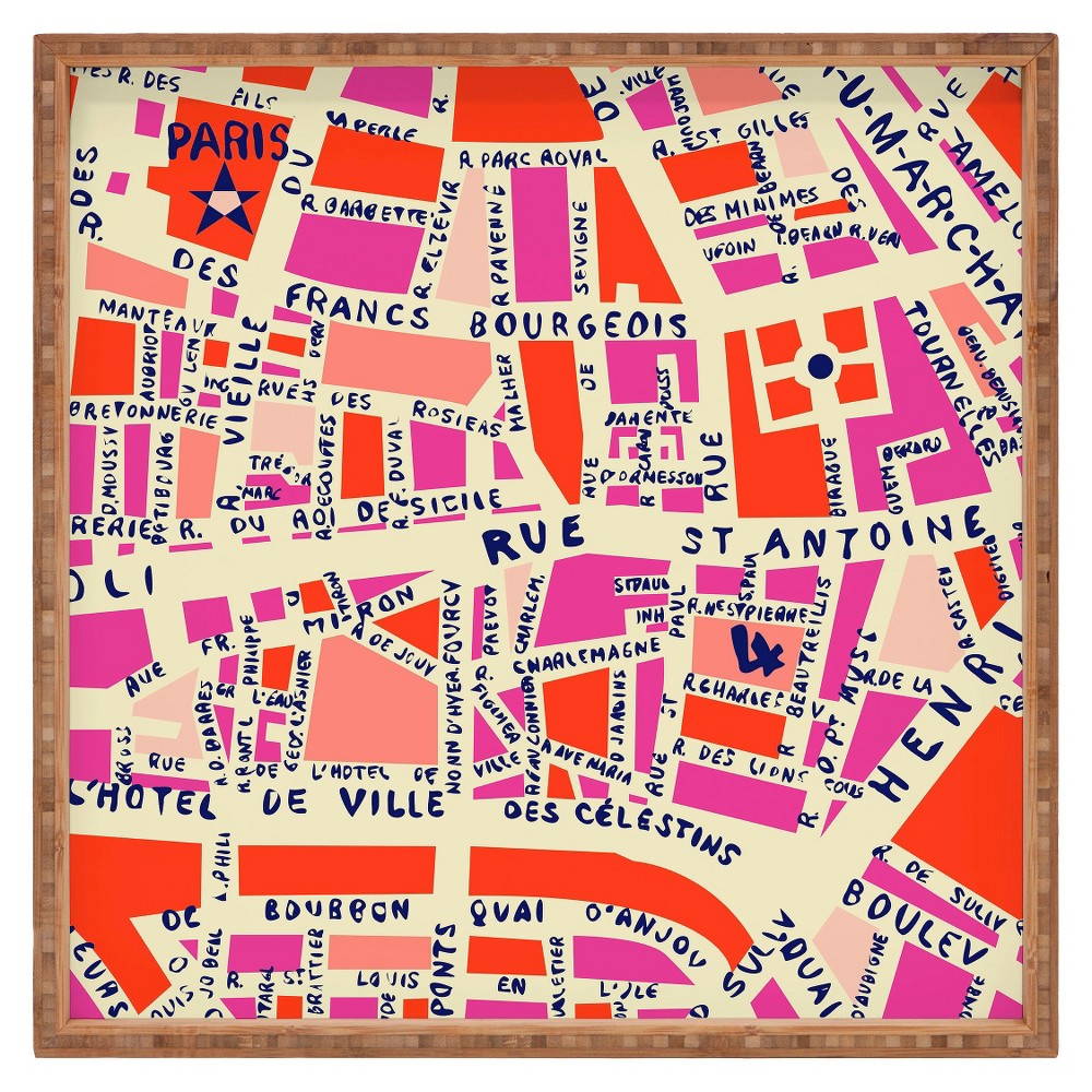 Decorative Holli Zollinger Paris Map Wooden Tray - Pink - Deny Designs