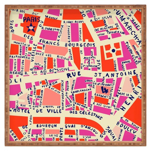 Decorative Holli Zollinger Paris Map Wooden Tray - Pink - Deny Designs - image 1 of 4