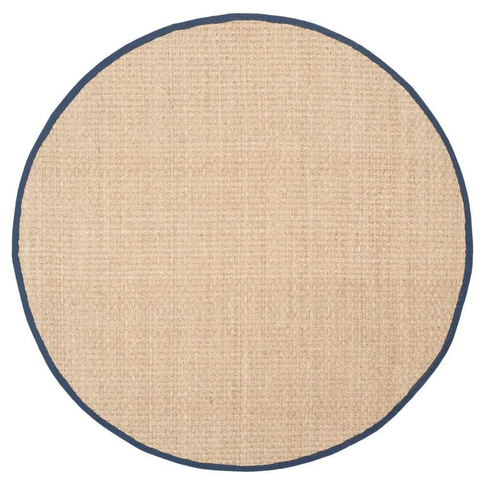 Natural Fiber Rug - Natural/Blue - (6'x6' Round) - Safavieh