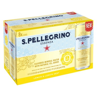 S.Pellegrino Essenza Lemon & Lemon Zest Flavored Mineral Water - 8pk/11.15 fl oz Cans