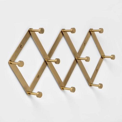 Accordion Decorative Hook Rack Brass, Accordion Style Wall Coat Rack