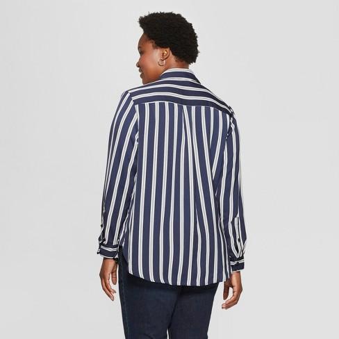 f3a8f462b700b0 Women s Plus Size Striped No Gap Button-Down Long Sleeve Blouse - Ava   Viv™  Navy   Target