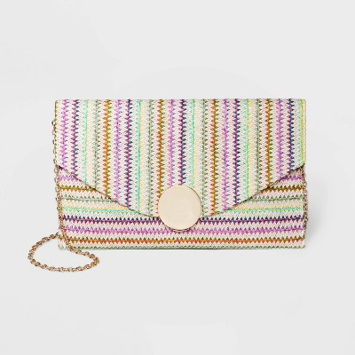 Estee & Lilly Striped Flap Closure Envelope Clutch - Black