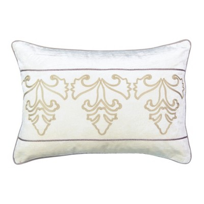 """Beautyrest 14""""x20"""" Sandrine Embroidered Throw Pillow Gold/Ivory"""