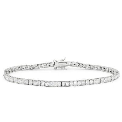 2.5mm Square-cut Cubic Zirconia Tennis Bracelet in Sterling Silver