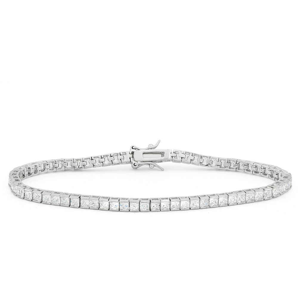2.5mm Square-cut Cubic Zirconia Tennis Bracelet in Sterling Silver, Girl's