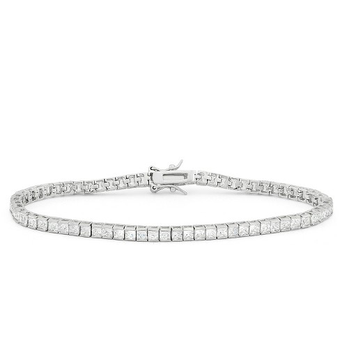 2.5mm Square-cut Cubic Zirconia Tennis Bracelet in Sterling Silver - image 1 of 1