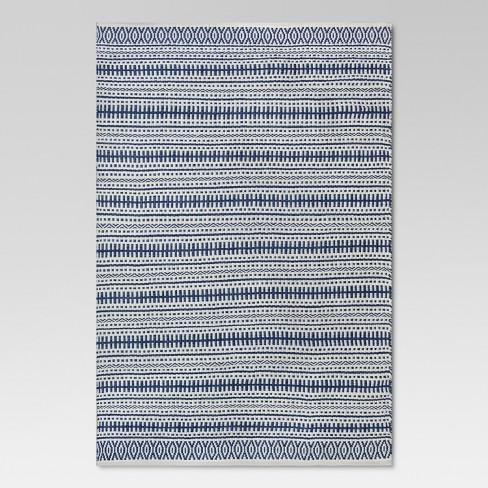 5 X 7 Pattern Stripe Outdoor Rug Blue Threshold Target