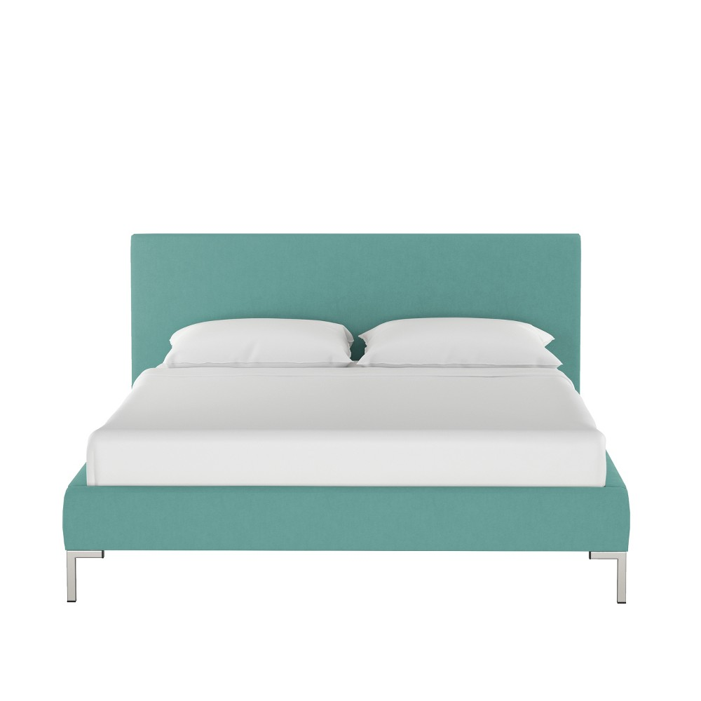 Full Daisy Platform Bed with Silver Metal Y Legs Teal Velvet - Cloth & Co.