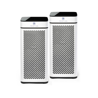 Medify Air MA-40-W2 Medical Grade Tower Whole Room Air Cleaner Purifier w/ True HEPA Filter, 4 Speeds, Ionizer, and 840 Sq Ft Coverage, White (2 Pack)