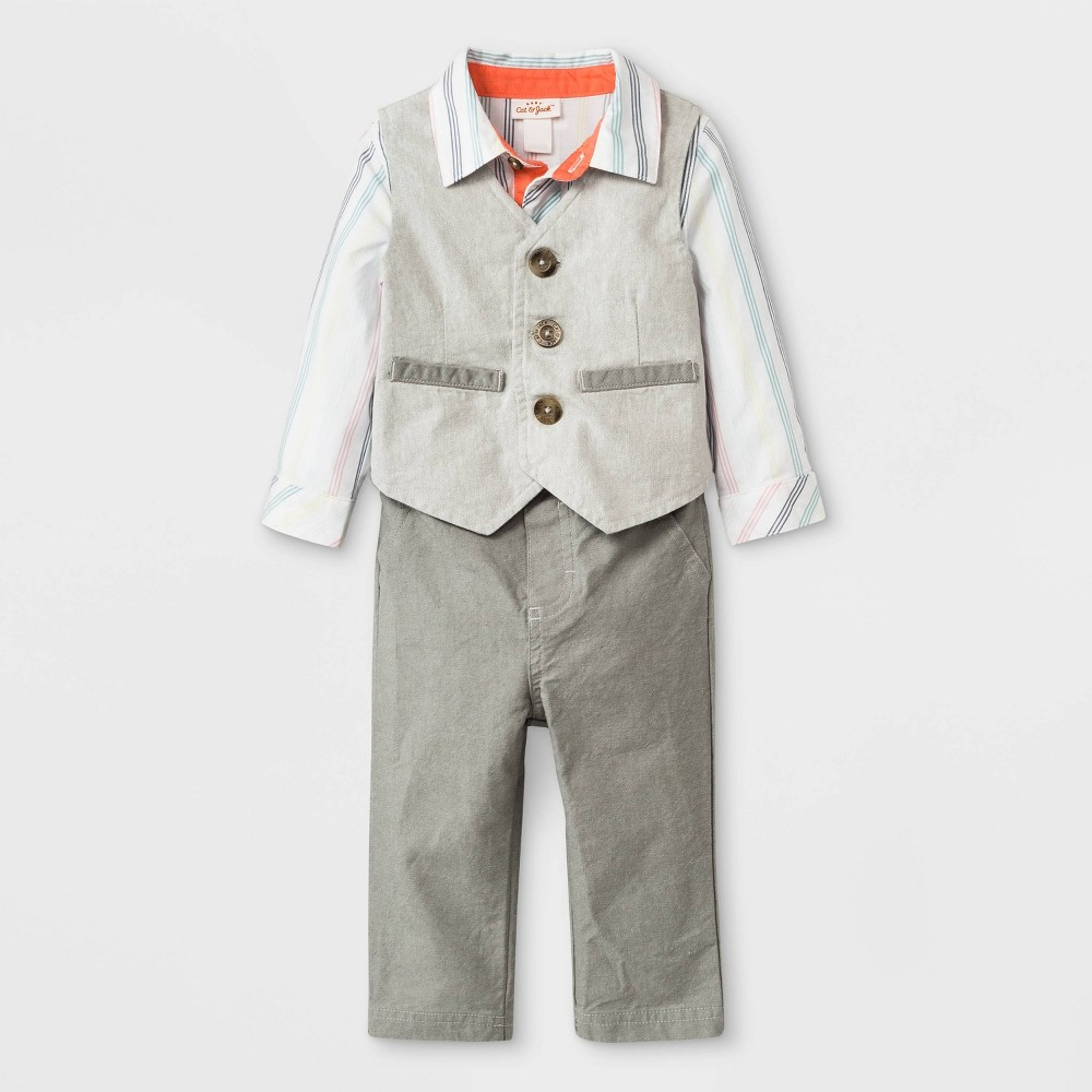 Baby Boys' Long Sleeve Bodysuit, Twill Vest and Twill Pants Set - Cat & Jack Gray/White Newborn