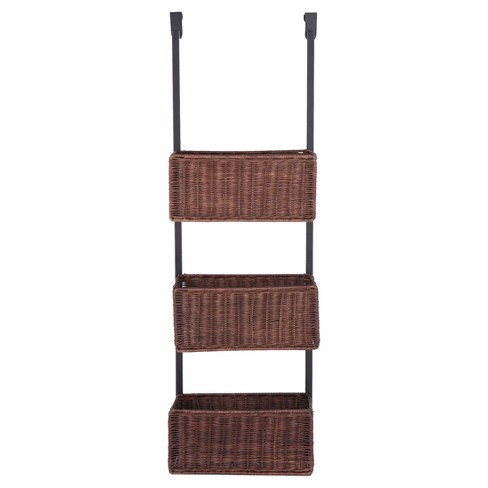 Over-The-Door 3-Tier Basket Storage  - Espresso and Black - Aiden Lane - image 1 of 6