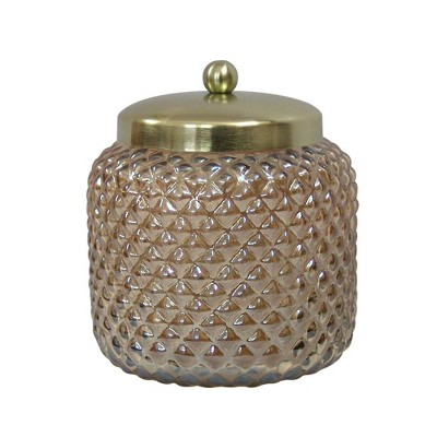 Gold Lustre Glass Canister Small Amber - Nu Steel