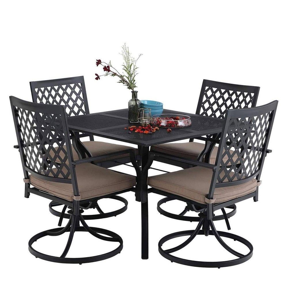 5pc Outdoor Dining Set With 37 34 Table 38 4 Swivel Arm Chairs Captiva Designs