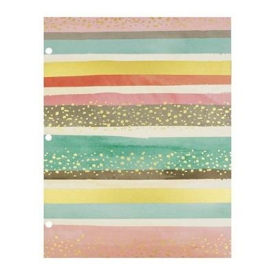 2 Pocket Paper Folder Pastel Stripes &Amp; Gold Dots   Greenroom by Greenroom