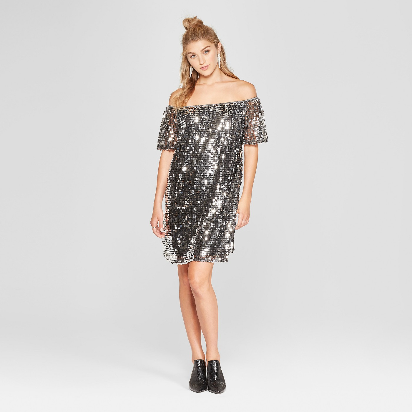 Women's Short Sleeve Off the Shoulder Sequin Dress - Xhilaration™ - image 1 of 2