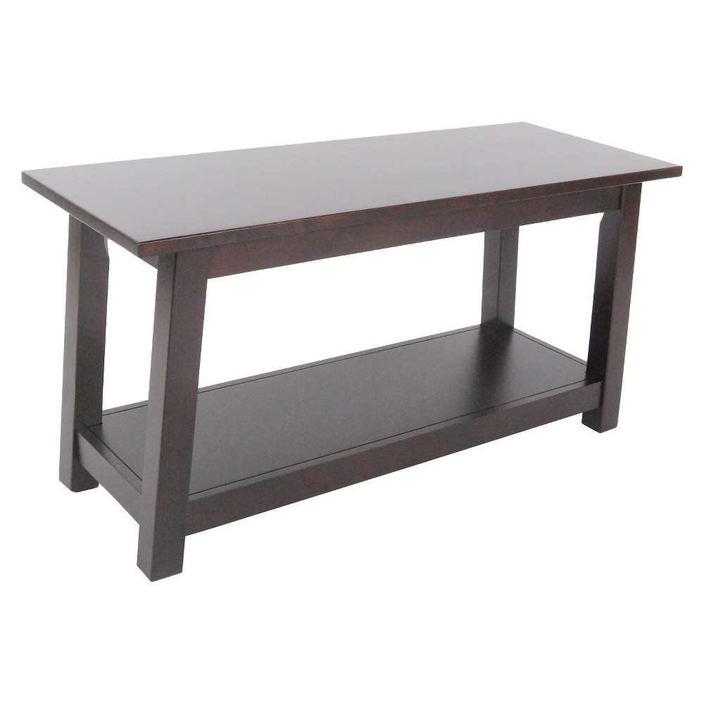 36 Bench with Shelf Hardwood Espresso (Brown) - Alaterre Furniture