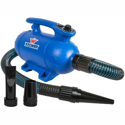 XPOWER B-24 Thermal Ace 3 HP Professional Dog Grooming Force Pet Dryer with 2 Heat Settings, Adjustable Speed, and Nozzle Attachments, Blue